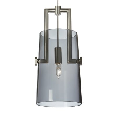 Revere 1-Light Monorail Mini Pendant Bulb Type: Incandescent, Shade Color: Transparent Smoke, Finish: Satin Nickel/Satin Nickel