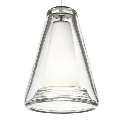 Billow Monorail 1-Light Mini Pendant Shade Color: Clear, Finish: Antique Bronze