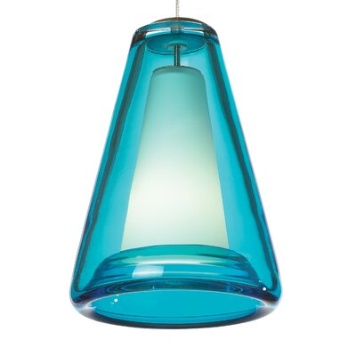 Billow 2-Circuit Monorail 1-Light Mini Pendant Shade Color: Ocean Blue, Finish: Satin Nickel