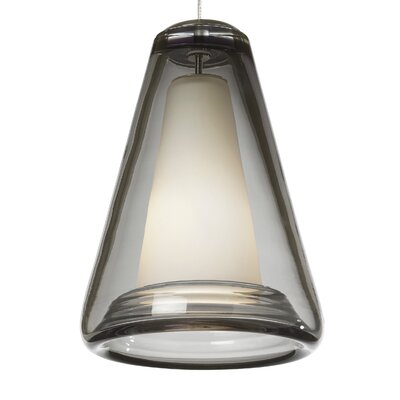Billow 2-Circuit Monorail 1-Light Mini Pendant Shade Color: Smoke, Finish: Satin Nickel