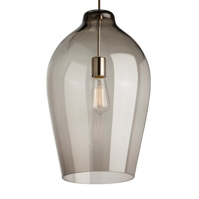 1-Light Mini Pendant Finish: Black, Shade Color: Smoke