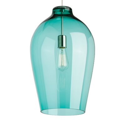 1-Light Mini Pendant Finish: Satin Nickel, Shade Color: Surf Green