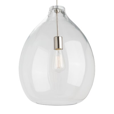 Quinton 1-Light Globe Pendant Shade Color: Clear, Bulb Type: Incandescent, Finish: Satin Nickel