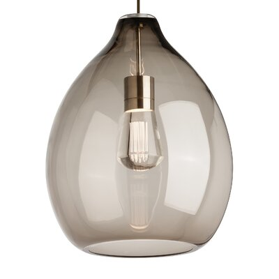 Quinton 1-Light Globe Pendant Finish: Satin Nickel, Shade Color: Smoke, Bulb Type: 120V Warm Color Dimming 3000K - 2200K LED