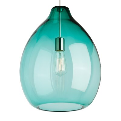 Quinton 1-Light Globe Pendant Bulb Type: Incandescent, Shade Color: Surf Green, Finish: Satin Nickel