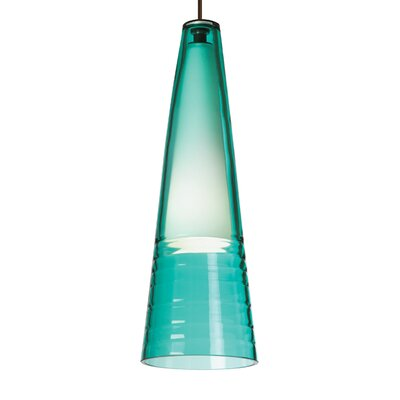 Isella 1-Light Monopoint Mini Pendant Finish: Antique Bronze, Bulb Type: Incandescent, Shade Color: Surf Green