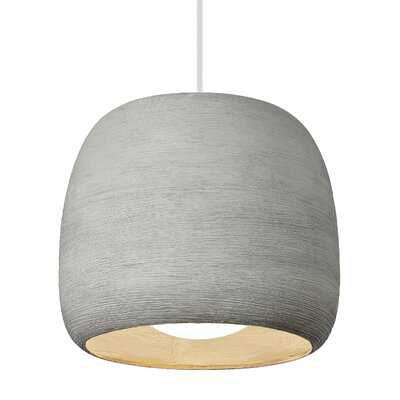 Karam 1-Light Mini Pendant Finish: Concrete / White, Size: 18.6 H x 21.3 W x 21.3 D, Bulb Type: 120V Compact Fluorescent