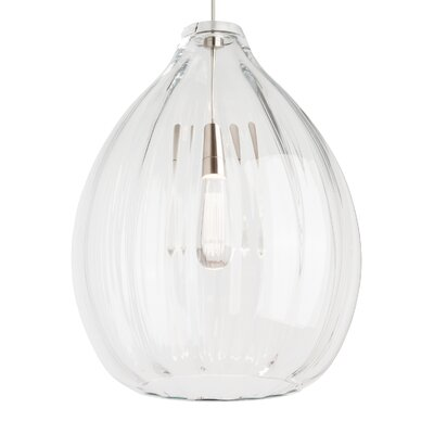 Harper 1-Light Pendant Shade Color: Clear, Bulb Type: 120V Incandescent, Finish: Satin Nickel