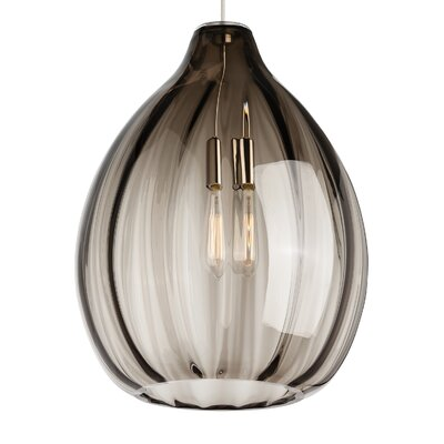 Harper 1-Light Pendant Bulb Type: 120V Incandescent, Shade Color: Smoke, Finish: Satin Nickel