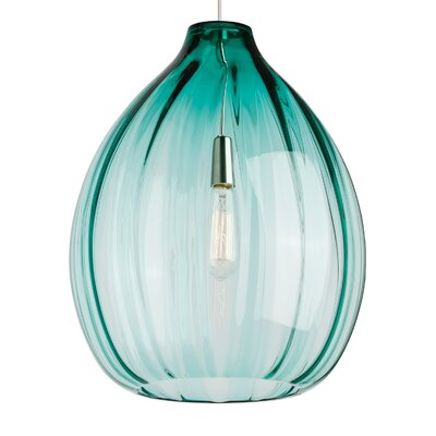 Harper 1-Light Pendant Bulb Type: 120V Incandescent, Shade Color: Surf Green, Finish: Satin Nickel
