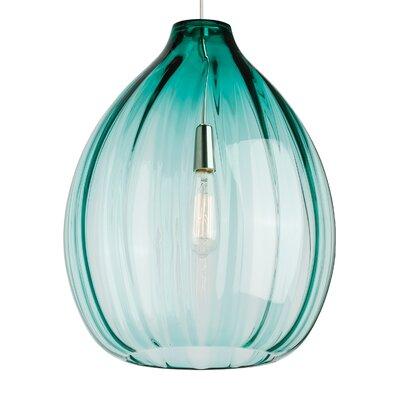 Harper 1-Light Pendant Bulb Type: 120V Incandescent, Shade Color: Surf Green, Finish: Satin Nickel