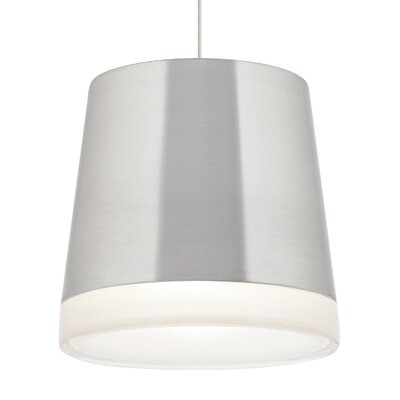 Henrik Grande TTRAK 1-Light Mini Pendant Finish: White, Shade Color: Brushed Aluminum, Bulb Type: Compact Fluorescent