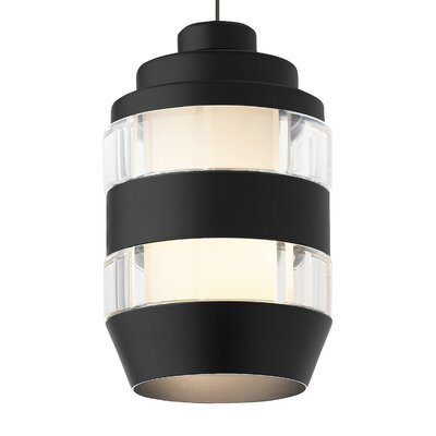 Akida FreeJack 1-Light Mini Pendant Finish: Satin Nickel, Shade Color: Clear-Matte Black, Bulb Type: 12 Volt Halogen