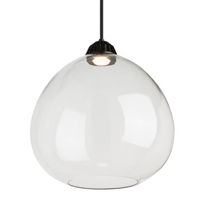1-Light Globe Pendant Shade Color: Transparent Smoke, Size: 9.80 H x 9.90 W x 9.90 D, Bulb Type: 120V Warm Color Dimming 3000K - 2200K LED
