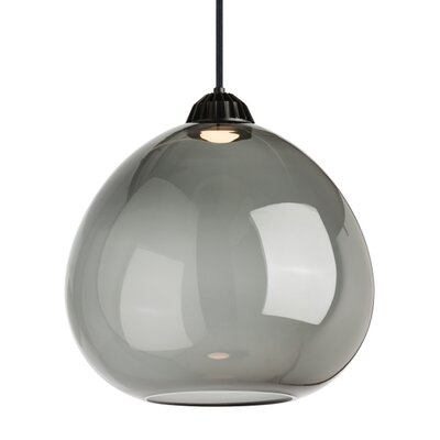 1-Light Globe Pendant Shade Color: Transparent Smoke, Size: 16.80 H x 16.70 W x 16.70 D, Bulb Type: 120V Warm Color Dimming 3000K - 2200K LED
