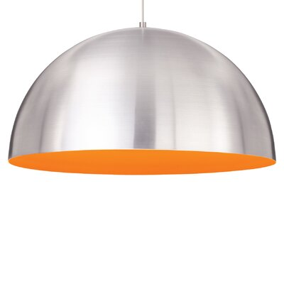 Powell Street 1-Light Pendant Shade Color: Satin Nickel/Sunrise Orange, Finish: White