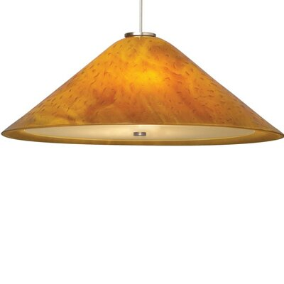 Larkspur 1-Light Inverted Pendant Shade Color: Beach Amber, Finish: Satin Nickel