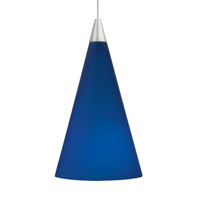 Cone Mini Pendant Base Finish: Chrome, Shade Color: Cobalt