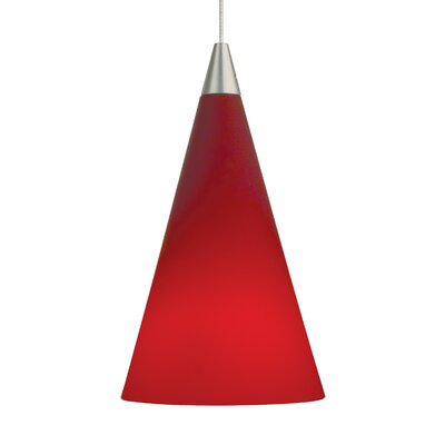 Cone Mini Pendant Base Finish: Antique Bronze, Shade Color: Red