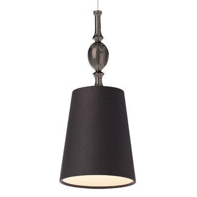 Kiev 1-Light Mini Pendant Base Finish: Satin Nickel, Shade Color: Black/Clear, Mounting Type: Monopoint