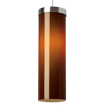 Hudson 1-Light Mini Pendant Base Finish: Satin Nickel, Shade Color: Brown, Bulb Type: 80 CRI 3000K LED