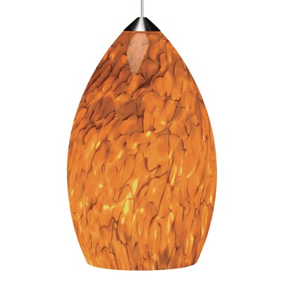 Firefrit 1-Light Mini Pendant Base Finish: Satin Nickel, Shade Color: Tahoe Pine Amber, Bulb Type: 90 CRI 3000K LED