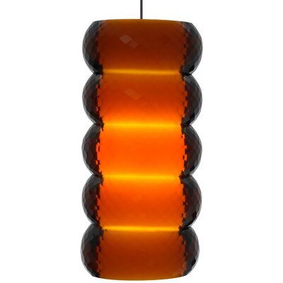 Bangle 1-Light Mini Pendant Base Finish: Chrome, Shade Color: Amber