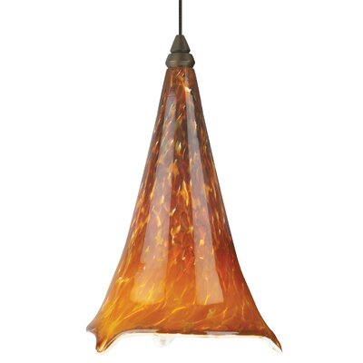 Ovation 1-Light LED Mini Pendant Shade Color: Tahoe Pine Amber, Base Finish: Antique Bronze