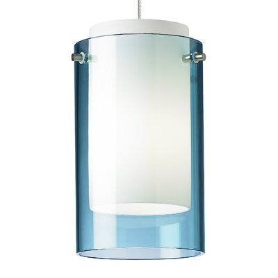 Echo Drum Pendant Base Finish: Chrome, Shade Color: Steel Blue