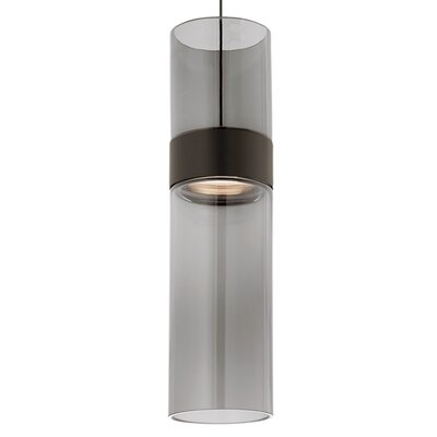 Manette 1-Light Mini Pendant Base Finish: Black/Satin Nickel, Shade Color: Transparent Smoke
