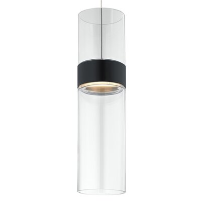 Manette 1-Light Mini Pendant Base Finish: Black/Satin Nickel, Shade Color: Clear