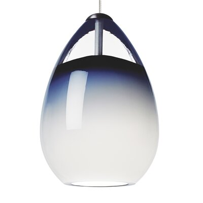 Alina 1-Light Mini Pendant Base Finish: Satin Nickel, Shade Color: Steel Blue, Bulb Type: 90 CRI 3000K LED