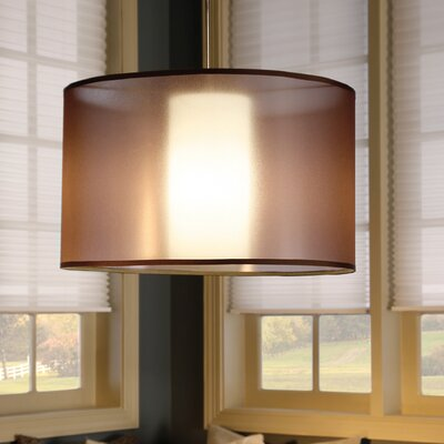 Dillon 1-Light Drum Pendant Finish: Black, Shade Color: Brown