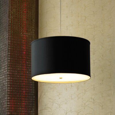Lexington 4-Light Drum Pendant Finish: Satin Nickel, Shade Color: Black