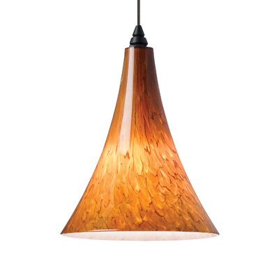 Melrose 1-Light Mini Pendant Base Finish: Antique Bronze, Shade Color: Tahoe Pine Amber