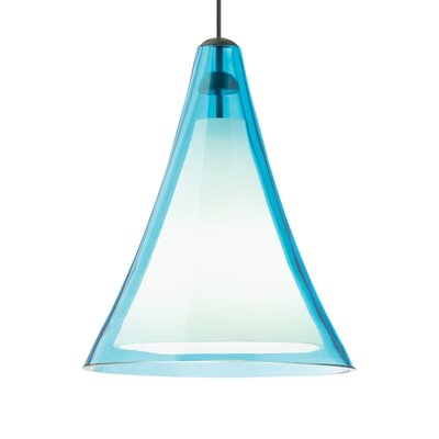 Mini Melrose II 1-Light Mini Pendant Finish: Satin Nickel, Shade Color: Aqua