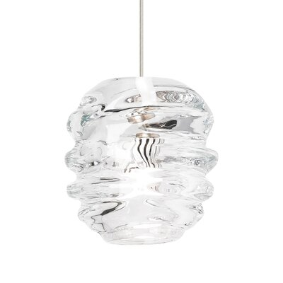Audra 1-Light Mini Pendant Finish: Satin Nickel, Shade Color: Clear