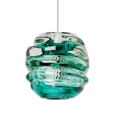 Audra 1-Light Mini Pendant Finish: Black, Shade Color: Surf Green