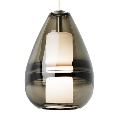 Mini Ella 1-Light Mini Pendant Finish: Satin Nickel, Shade Color: Smoke