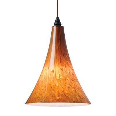 Melrose Mini Pendant Base Finish: Chrome, Shade Color: Tahoe Pine Amber