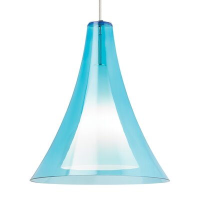 Melrose 1-Light Mini Pendant Finish: Satin Nickel, Shade Color: Aqua
