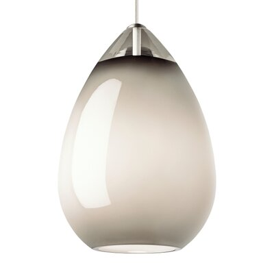Alina 1-Light Mini Pendant Shade Color: Smoke, Finish: Black