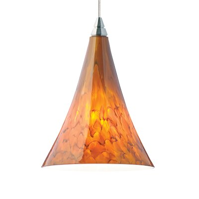 Melrose 1-Light Mini Pendant Base Finish: Satin Nickel, Shade Color: Tahoe Pine Amber