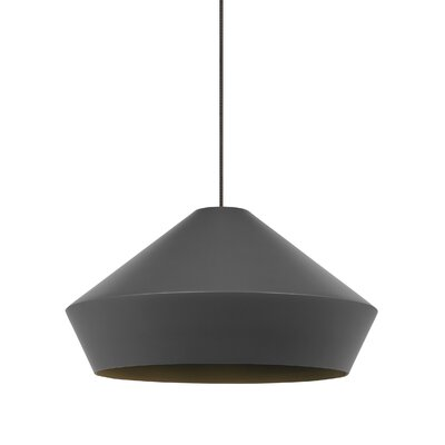 Brummel Pendant Finish: Antique Bronze, Shade Color: Charcoal Gray, Bulb Type: Halogen 50W