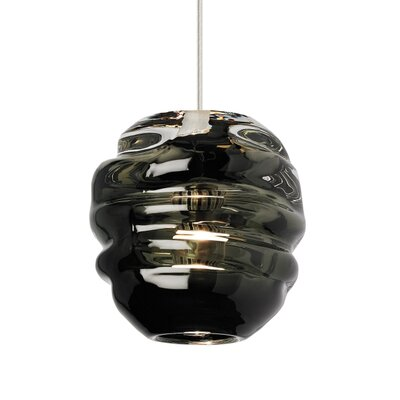 Audra 1-Light Globe Pendant Finish: Satin Nickel, Shade Color: Smoke, Size: 5.9 L x 5.3 W