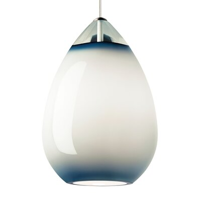 Alina 1-Light Mini Pendant Shade Color: Steel Blue, Finish: White
