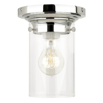 Clark 1-Light Flush Mount Finish: Antique Bronze, Shade Color: Clear