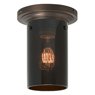Clark 1-Light Flush Mount Finish: Polished Nickel, Shade Color: Havana Brown