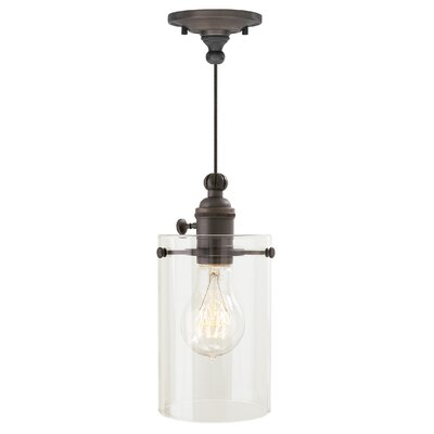 Clark 1-Light Mini Pendant Finish: Satin Nickel, Shade Color: Clear