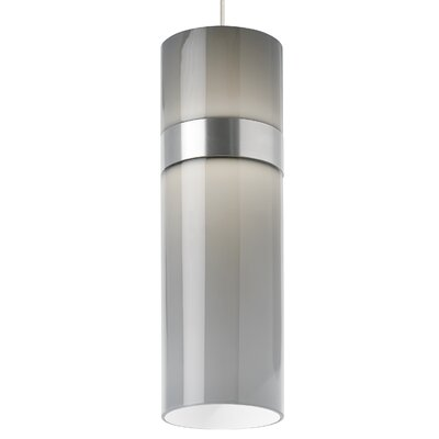 Manette Grande Drum Pendant Shade Color: Smoke, Base Finish: Satin Nickel